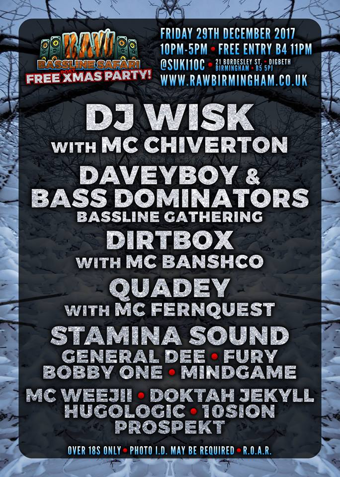 dj wisk, chiverton, mc chiverton, davey boy, ecko records, bass dominators, bassline gathering, raw bassline safari, xmas party, free xmas rave, xmas rave, free party, free christmas party, christmas rave, uk garage, dnb, jungle, bassline, bass, grime, house, deep house, dirtbox, mc banscho, quady, mc fernquest, stamina squad, general dee, 10sion, prospekt, rave, birmingham, digbeth, brum, 0121