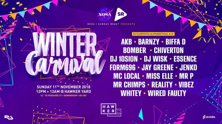 flyer, artwork, ravers, dj, winter, winter rave, party, nice underground, dj wisk, dj bomber, chiverton, mc local, form 696, nosa, dnb, drum & bass, ukg, uk garage, garage, winter carnival, hawker yard, nice skiddle, nosa skiddle,